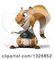 Clipart Of A 3d Business Squirrel Presenting And Holding A Camera Royalty Free Illustration