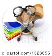 Clipart Of A 3d Bespectacled Business Squirrel Holding Up A Thumb And Stack Of Books Royalty Free Illustration