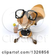 Clipart Of A 3d Bespectacled Business Squirrel Looking Up And Drinking A Beverage Royalty Free Illustration