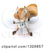 Clipart Of A 3d Bespectacled Doctor Or Veterinarian Squirrel Holding Up A Thumb And Book Royalty Free Illustration by Julos