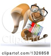 Clipart Of A 3d Bespectacled Doctor Or Veterinarian Squirrel Facing Slightly Right Hopping And Holding Books Royalty Free Illustration