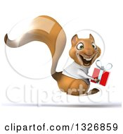 Clipart Of A 3d Doctor Or Veterinarian Squirrel Holding A Gift And Hopping To The Right Royalty Free Illustration