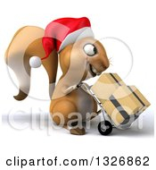 Clipart Of A 3d Squirrel Wearing A Christmas Santa Hat Facing Right Moving Boxes On A Dolly Royalty Free Illustration