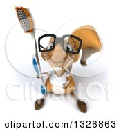Clipart Of A 3d Bespectacled Casual Squirrel Wearing A White T Shirt Looking Up And Holding A Giant Toothbrush Royalty Free Illustration