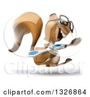Clipart Of A 3d Bespectacled Casual Squirrel Wearing A White T Shirt Facing Right Jumping And Holding A Giant Toothbrush Royalty Free Illustration