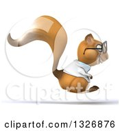 Clipart Of A 3d Bespectacled Doctor Or Veterinarian Squirrel Hopping To The Right Royalty Free Illustration by Julos