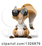 Clipart Of A 3d Casual Squirrel Wearing A White T Shirt And Sunglasses Royalty Free Illustration by Julos
