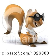 Clipart Of A 3d Casual Squirrel Wearing A White T Shirt And Sunglasses Facing Right Royalty Free Illustration by Julos