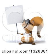 Clipart Of A 3d Casual Squirrel Wearing A White T Shirt And Sunglasses Looking Up At And Pointing To A Blank Sign Royalty Free Illustration by Julos