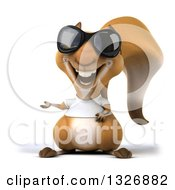 Clipart Of A 3d Casual Squirrel Wearing A White T Shirt And Sunglasses And Presenting Royalty Free Illustration by Julos