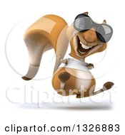 Clipart Of A 3d Casual Squirrel Wearing A White T Shirt And Sunglasses Facing Slightly Right Jumping And Giving A Thumb Up Royalty Free Illustration by Julos
