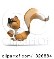 Clipart Of A 3d Casual Squirrel Wearing A White T Shirt And Sunglasses Facing Left And Hopping With An Acorn Royalty Free Illustration by Julos