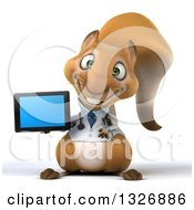 Clipart Of A 3d Doctor Or Veterinarian Squirrel Holding A Tablet Computer Royalty Free Illustration by Julos