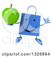 Clipart Of A 3d Happy Blue Shopping Or Gift Bag Character Jumping And Holding A Green Apple Royalty Free Illustration