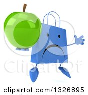 Clipart Of A 3d Unhappy Blue Shopping Or Gift Bag Character Facing Slightly Right Jumping And Holding A Green Apple Royalty Free Illustration