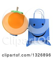 Clipart Of A 3d Happy Blue Shopping Or Gift Bag Character Holding Up A Navel Orange Royalty Free Illustration