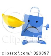Clipart Of A 3d Unhappy Blue Shopping Or Gift Bag Character Holding A Thumb Down And A Banana Royalty Free Illustration