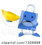 Clipart Of A 3d Unhappy Blue Shopping Or Gift Bag Character Holding And Pointing To A Banana Royalty Free Illustration