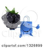 Clipart Of A 3d Happy Blue Shopping Or Gift Bag Character Holding Up A Thumb And A Blackberry Royalty Free Illustration