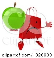 Clipart Of A 3d Unhappy Red Shopping Or Gift Bag Character Facing Slightly Right Jumping And Holding A Green Apple Royalty Free Illustration