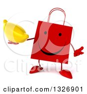 Clipart Of A 3d Happy Red Shopping Or Gift Bag Character Shrugging And Holding A Banana Royalty Free Illustration
