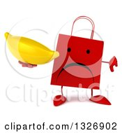 Clipart Of A 3d Unhappy Red Shopping Or Gift Bag Character Giving A Thumb Down And Holding A Banana Royalty Free Illustration