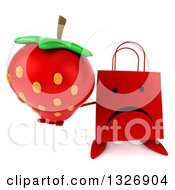 Clipart Of A 3d Unhappy Red Shopping Or Gift Bag Character Holding Up A Strawberry Royalty Free Illustration by Julos
