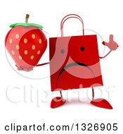 Clipart Of A 3d Unhappy Red Shopping Or Gift Bag Character Holding Up A Finger And Strawberry Royalty Free Illustration by Julos