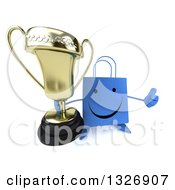 Clipart Of A 3d Happy Blue Shopping Or Gift Bag Character Holding Up A Thumb And Trophy Royalty Free Illustration