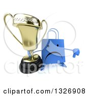 Clipart Of A 3d Unhappy Blue Shopping Or Gift Bag Character Holding Up A Thumb Down And Trophy Royalty Free Illustration