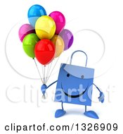 Clipart Of A 3d Happy Blue Shopping Or Gift Bag Character Holding Party Balloons Royalty Free Illustration