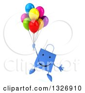 Clipart Of A 3d Happy Blue Shopping Or Gift Bag Character Floating With Party Balloons Royalty Free Illustration