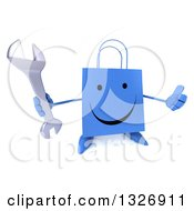 Clipart Of A 3d Happy Blue Shopping Or Gift Bag Character Holding Up A Thumb And Wrench Royalty Free Illustration