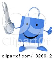 Clipart Of A 3d Happy Blue Shopping Or Gift Bag Character Giving A Thumb Up And Holding A Key Royalty Free Illustration