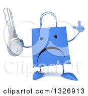 Clipart Of A 3d Unhappy Blue Shopping Or Gift Bag Character Holding Up A Finger And A Key Royalty Free Illustration