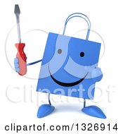 Clipart Of A 3d Happy Blue Shopping Or Gift Bag Character Holding And Pointing To A Screwdriver Royalty Free Illustration
