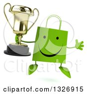 Clipart Of A 3d Happy Green Shopping Or Gift Bag Character Jumping With A Trophy Royalty Free Illustration