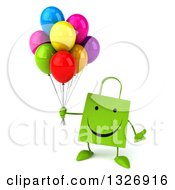 Clipart Of A 3d Happy Green Shopping Or Gift Bag Character Shrugging And Holding Party Balloons Royalty Free Illustration