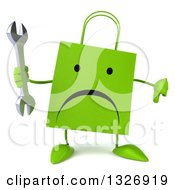Clipart Of A 3d Unhappy Green Shopping Or Gift Bag Character Giving A Thumb Down And Holding A Wrench Royalty Free Illustration