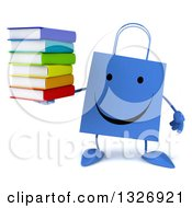 Clipart Of A 3d Happy Blue Shopping Or Gift Bag Character Holding A Stack Of Books Royalty Free Illustration