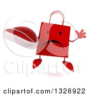Clipart Of A 3d Unhappy Red Shopping Or Gift Bag Character Jumping And Holding A Beef Steak Royalty Free Illustration