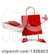 Clipart Of A 3d Unhappy Red Shopping Or Gift Bag Character Holding Up A Finger And A Beef Steak Royalty Free Illustration