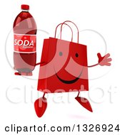 Clipart Of A 3d Happy Red Shopping Or Gift Bag Character Facing Slightly Right Jumping And Holding A Soda Bottle Royalty Free Illustration by Julos