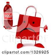 Clipart Of A 3d Unhappy Red Shopping Or Gift Bag Character Giving A Thumb Down And Holding A Soda Bottle Royalty Free Illustration by Julos