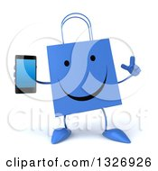 Clipart Of A 3d Happy Blue Shopping Or Gift Bag Character Holding Up A Finger And A Smart Cell Phone Royalty Free Illustration