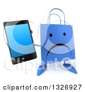 Clipart Of A 3d Unhappy Blue Shopping Or Gift Bag Character Holding Up A Smart Cell Phone Royalty Free Illustration