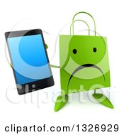 Clipart Of A 3d Unhappy Green Shopping Or Gift Bag Character Holding Up A Smart Phone Royalty Free Illustration by Julos