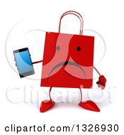 Clipart Of A 3d Unhappy Red Shopping Or Gift Bag Character Holding A Smart Cell Phone Royalty Free Illustration