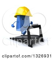 Clipart Of A 3d Happy Blue Shopping Or Gift Bag Contractor Character Facing Slightly Right Running On A Treadmill Royalty Free Illustration