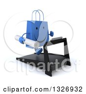 Clipart Of A 3d Happy Blue Shopping Or Gift Bag Character Holding Plans Facing Slightly Right And Running On A Treadmill Royalty Free Illustration